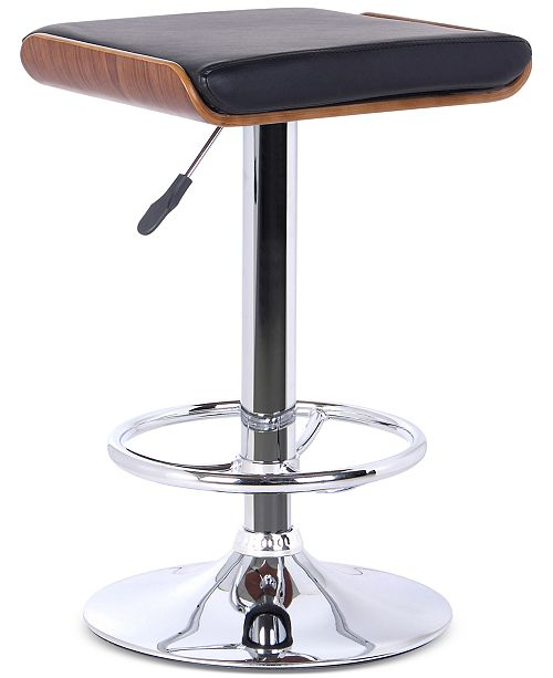 Armen Living Java Barstool in Chrome finish with Walnut wood and Cream Faux Leather