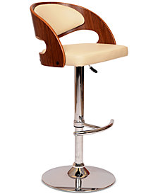 Malibu Swivel Barstool In Cream PU/ Walnut Veneer and Chrome Base