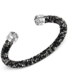 Silver-Tone Black Crystal and Crystaldust Open Cuff Bracelet