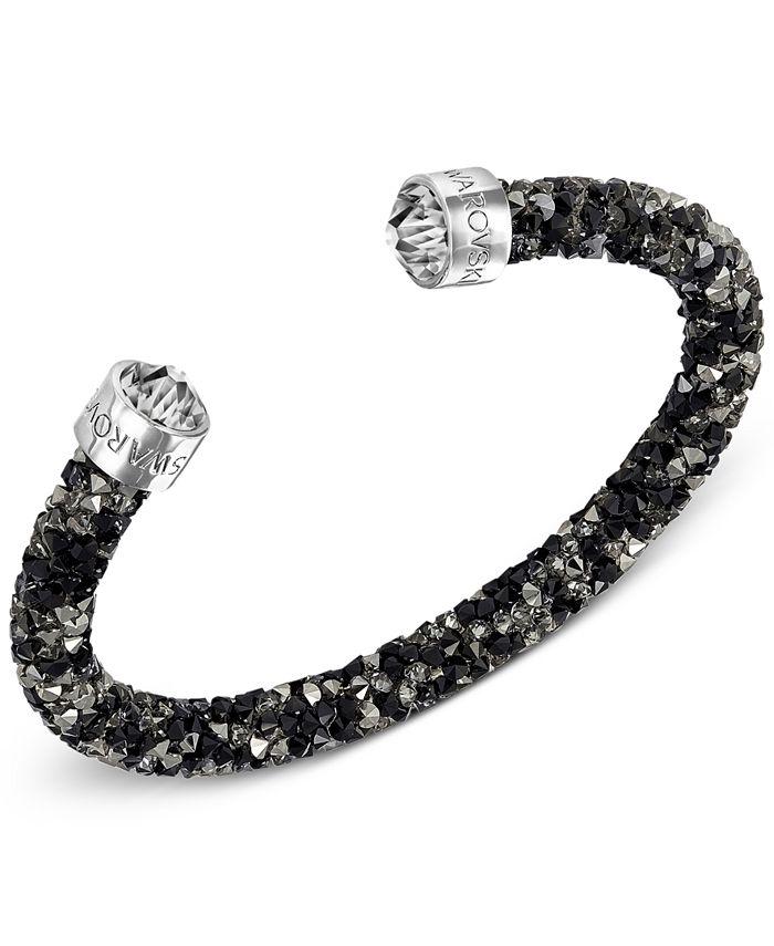 Swarovski - Silver-Tone Black Crystal and Crystaldust Open Cuff Bracelet
