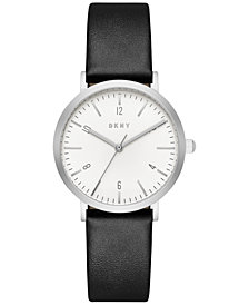 DKNY Women's Dress Black Leather Strap Watch 36mm, Created for Macy's