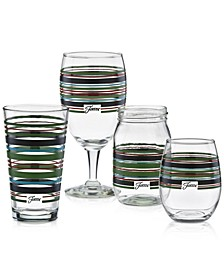 Slate & Sage Stripe Glassware Collection, Created for Macy's