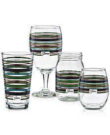 Fiesta Slate & Sage Stripe Glassware Collection, Created for Macy's