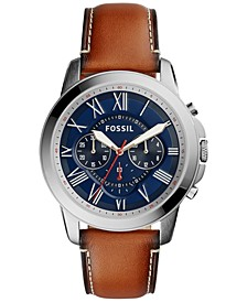 Men's Chronograph Grant Light Brown Leather Strap Watch 44mm FS5210