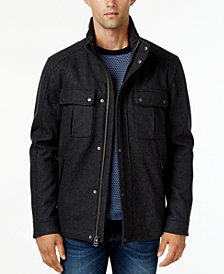 Cole Haan Wool Melton Trucker with Faux Leather Trim