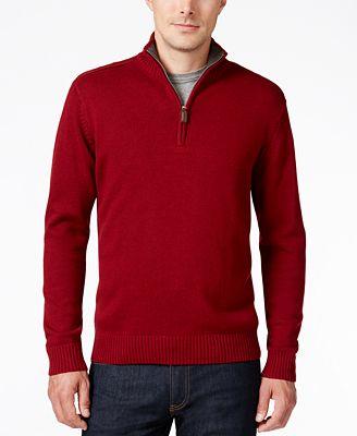 Tricots St. Raphael Men's Quarter-Zip Mock-Collar Sweater
