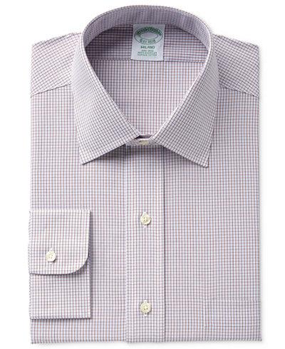 Brooks Brothers Men's Milano Slim-Fit Non-Iron Brown Micro-Check Dress Shirt