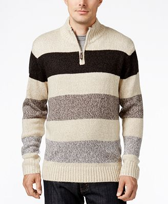 Tricots St. Raphael Men's Stripe Quarter-Zip Mock-Collar Sweater