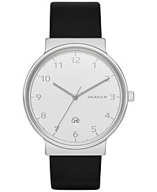 Skagen Men's Ancher Black Leather Strap Watch 40mm SKW6291