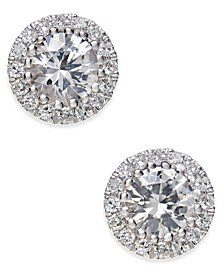 White Sapphire (5/8 ct. t.w.) and Diamond (1/10 ct. t.w.) Stud Earrings in 14k White Gold