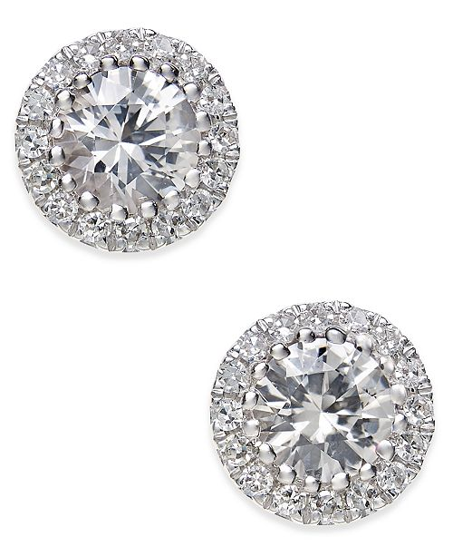 Macy's White Sapphire (5/8 ct. t.w.) and Diamond (1/10 ct. t.w.) Stud Earrings in 14k White Gold