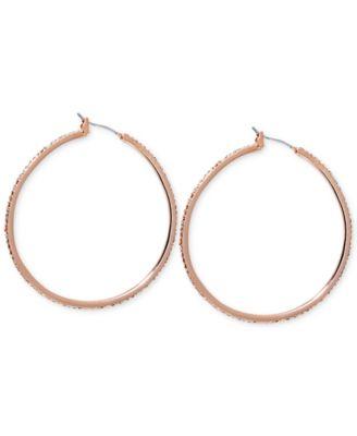 Lauren Ralph Lauren Rose GoldTone Pav Hoop Earrings Jewelry