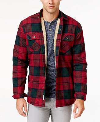 Weatherproof Vintage Men's Faux Fur-Lined Plaid Flannel Shirt ...