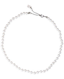 Lauren Ralph Lauren Silver-Tone Imitation Small Pearl Collar Necklace