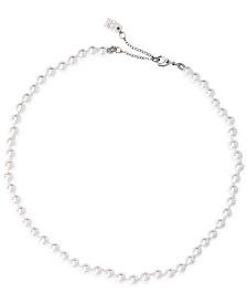 Lauren Ralph Lauren Silver-Tone Imitation Small Pearl Collar Necklace