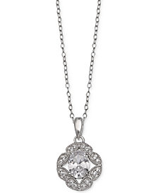 Giani Bernini Cubic Zirconia Flower Oval Pendant in Sterling Silver, Created for Macy's