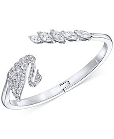 Swarovski Silver-Tone Pavé Swan Hinged Bangle Bracelet