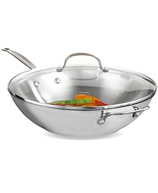 "Chef's Classic Stainless Steel 14"" Covered Stir Fry"