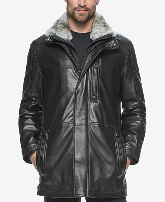 Marc New York Men S Middlebury Leather Coat With Fur