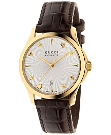 Gucci Women's Swiss Automatic G Timeless Dark Brown Alligator Leather Strap Watch 38mm YA126470