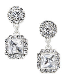 Charter Club Silver-Tone Square Crystal Drop Earrings, Created for Macy's
