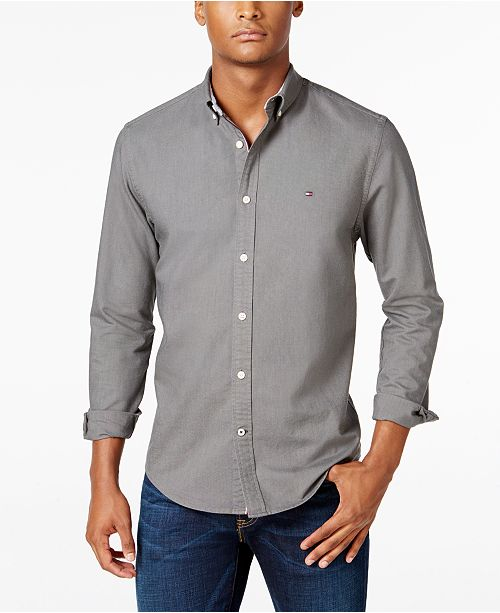 920708122 Tommy Hilfiger New England Solid Long-Sleeve Custom-Fit Oxford Shirt