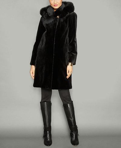 The Fur Vault Fox-Fur-Trim Hooded Mink Fur Coat - The Fur Vault ...