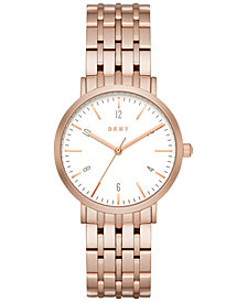 DKNY Women's Minetta Rose Gold-Tone Stainless Steel Bracelet Watch 36mm NY2504