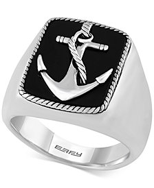 EFFY® Men's Onyx (8 x 6mm) Anchor Ring in Sterling Silver