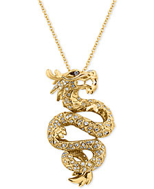 EFFY® Diamond Dragon Pendant Necklace (5/8 ct. t.w.) in 14k Gold