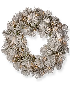 "24"" Snowy Bristle Pine Wreath with 50 Warm White Battery Operated LED Lights with Timer"