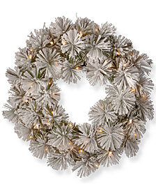 "National Tree Company 24"" Snowy Bristle Pine Wreath with 50 Warm White Battery Operated LED Lights with Timer"