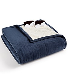 Microplush Reverse Faux Sherpa Electric Twin Blanket