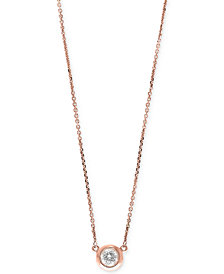 EFFY® Diamond Bezel Pendant Necklace (3/8 ct. t.w.) in 14k White, Yellow, or Rose Gold