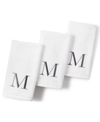 "Image of CLOSEOUT! Avanti Monogram Gray and White 11"" x 18"" Fingertip Towel"
