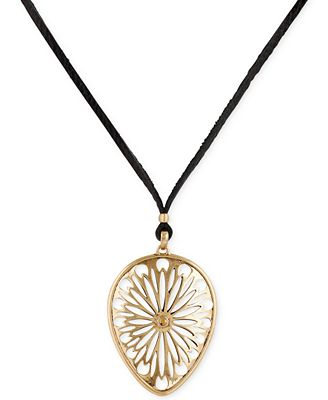 Lucky brand gold tone leather cord openwork pendant for Macy s lucky brand jewelry