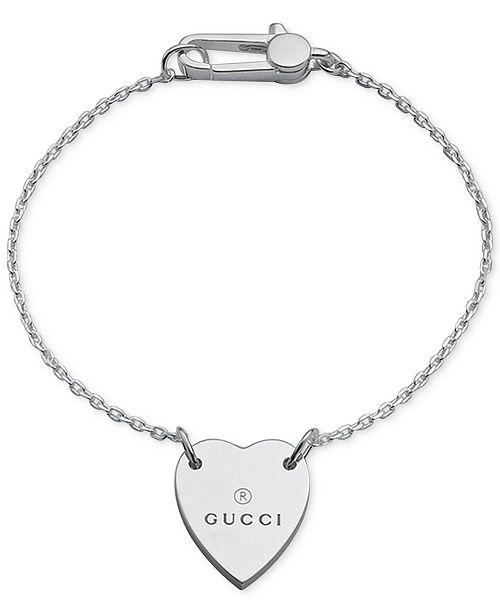 c59b30d92 Gucci Women's Sterling Silver Heart Pendant Bracelet YBA223513001018 ...