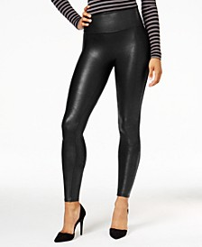 Women's Petite Faux-Leather Tummy Control Leggings