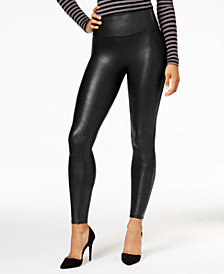 SPANX Women's  Petite Faux-Leather Tummy Control Leggings