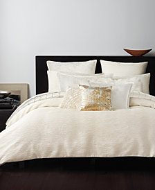 Donna Karan Rhythm Crepe Jacquard Ivory Duvet Covers and Shams