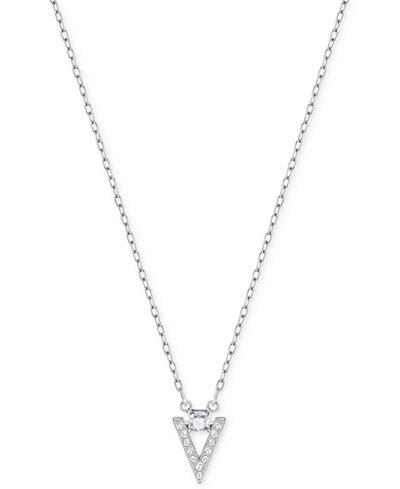 Swarovski Silver-Tone Square Crystal and Pavé Chevron Pendant Necklace