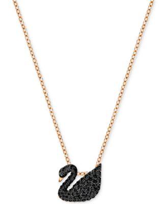 Swarovski Rose GoldTone Crystal Pav Black Swan 1478 Pendant