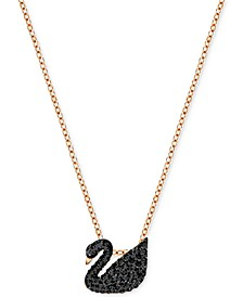"Rose Gold-Tone Crystal Pavé Black Swan 14-7/8"" Pendant Necklace"