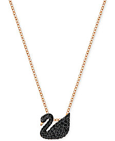 "Swarovski Rose Gold-Tone Crystal Pavé Black Swan 14-7/8"" Pendant Necklace"