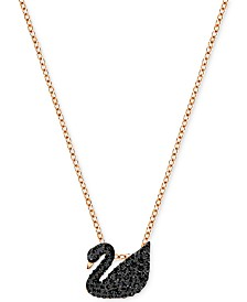 "Swarovski Rose Gold-Tone Crystal Pavé Black Swan 14-7/8"" Pendant Necklace"