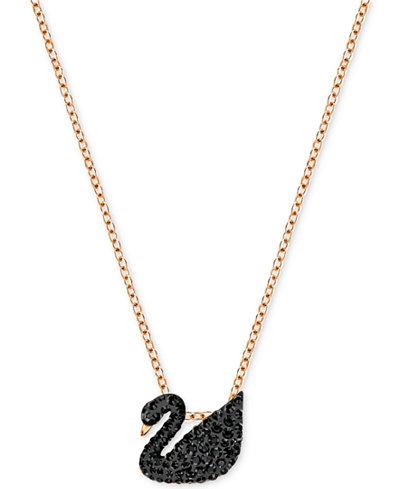 Swarovski Rose Gold-Tone Crystal Pavé Black Swan 14-7/8