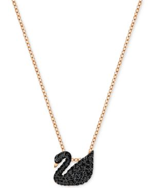 "Rose Gold-Tone Crystal Pave Black Swan 14-7/8"" Pendant Necklace"
