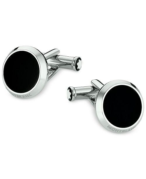 Montblanc Meisterstück Men's Steel and Black Onyx Cufflinks 112896
