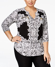 INC Plus Size Printed Zip-Pocket Shirt, Created for Macy's