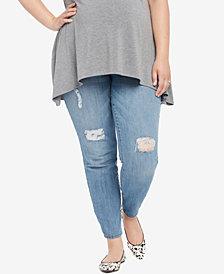 Motherhood Maternity Plus Size Medium Wash Distressed Skinny Jeans